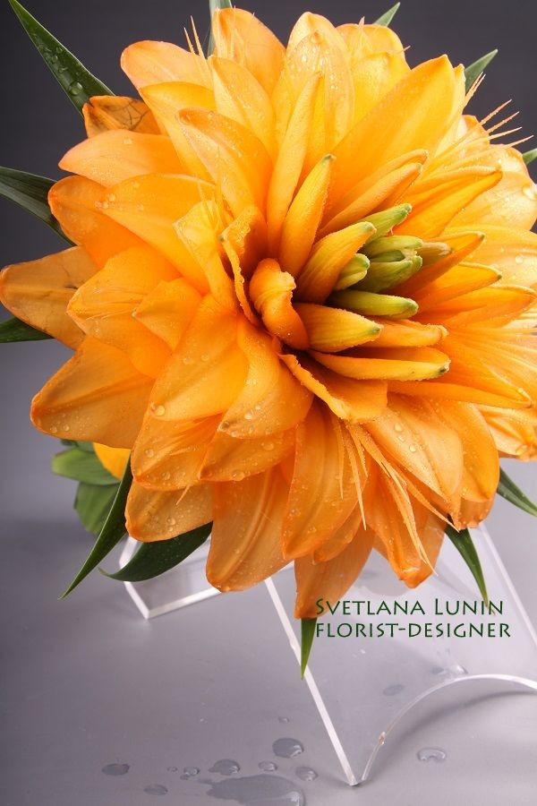 Yellow composite wedding bouquet from lilies from Svetlana Lunin  #glamelia. #yellow #bouquet