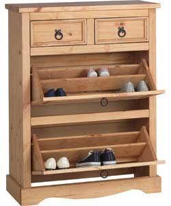 Puerto Rico Shoe Storage Cabinet with Drawers - Solid Pine.