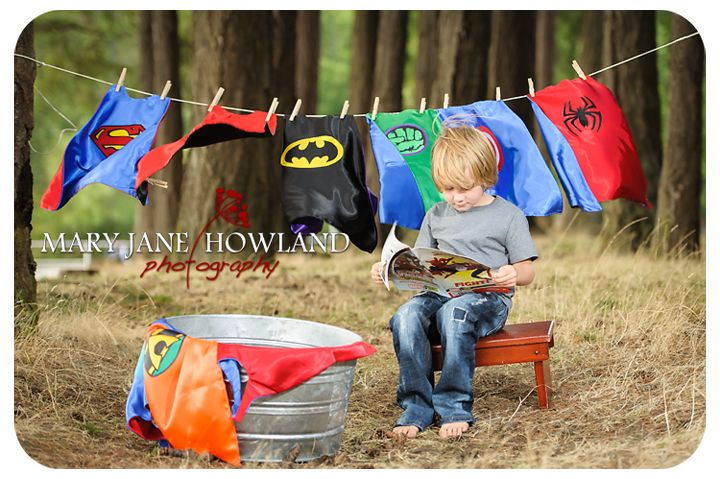 Super Hero Photo Shoot, Super Hero doing laundry, Super Hero Child Photography, Child Photography
