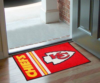 NFL - Kansas City Chiefs Starter Rug:   Decorate your home or office with area rugs by FANMATS. Made in U.S.A. 100% nylon carpet and non-skid Duragon latex backing. Officially licensed and chromojet printed in true team colors.