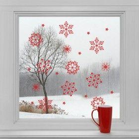 Vánoční dekorace na sklo - Červené vločky