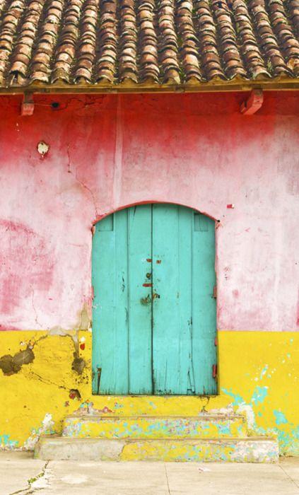 Granada, Nicaragua. Love the idea of a door, also the vibrant colors here