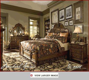 $1, 556 AICO Bedroom Set Sedgewicke in Tudor Brown AI-350 ...