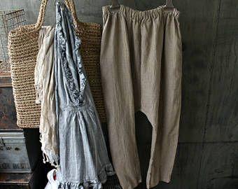 Pantaloni di lino goccia biforcazione