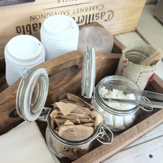 coffee station idea -'stir sticks, sugar, etc in cute jars