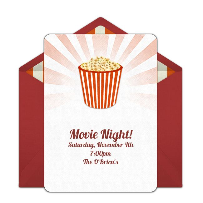 Customizable Popcorn online invitations. Easy to personalize and send for a party. #punchbowl