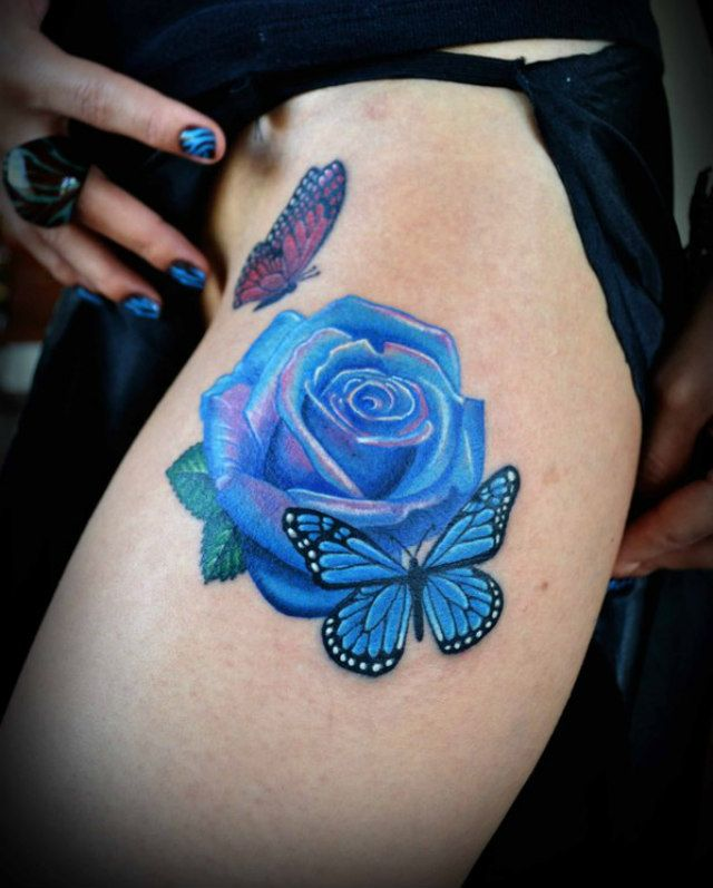 Blue butterfly tattoo blue rose tattoos blue tattoo tattoo art color