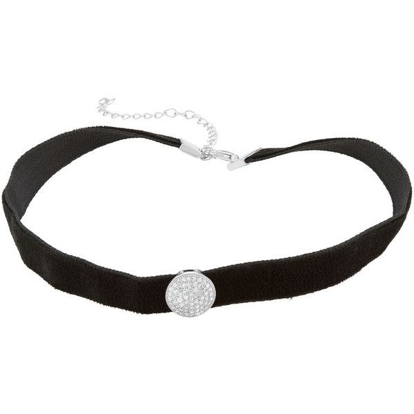 Sterling Silver Cubic Zirconia Circle Velvet Choker Necklace ($90) ❤ liked on Polyvore featuring jewelry, necklaces, white, cubic zirconia choker necklace, cz necklace, sterling silver jewellery, cz choker necklace and lobster clasp necklace