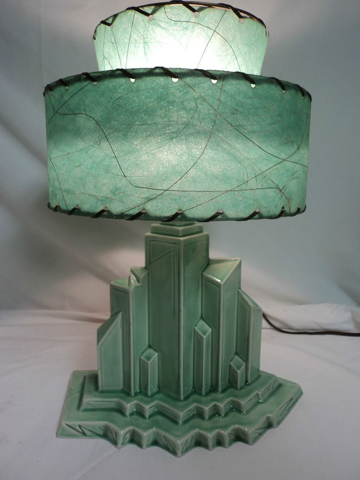 Antique Table Lamp Art Deco Lighting Mid Centlury New York City Scape Fiber Shade