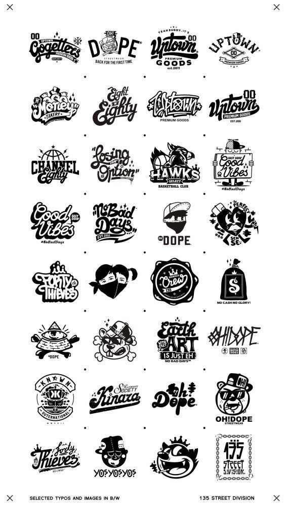 Recent selected types and images in B/W on Behance: