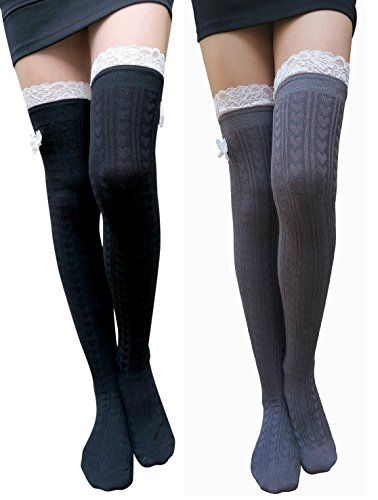 59348d8a7 AM Landen Over Knee Socks Lace Bow Socks Thigh High Socks Knee Stockings