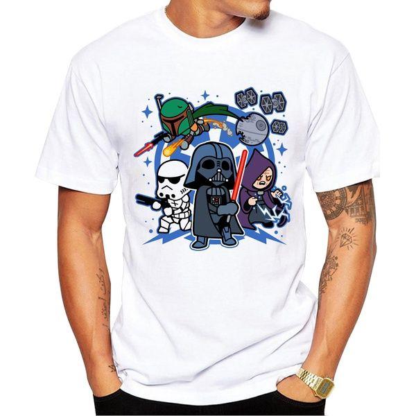 Wish | 2017 Newest Men T Shirt Short Sleeve Darth Vader and Friends Printed T-shirt O-Neck Tops Fashion Tee Shirts