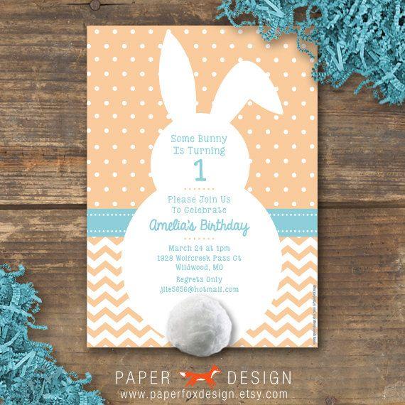 Pat The Bunny Birthday Invitation DIY Printable By PaperFoxDesign 1250