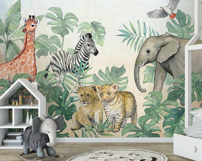 Wallpaper Tropical Foliage Abstract Adhesive Vinyl Peel And Stick Removable Wall Mural Large Photo In 2020 Safari Kids Kids Wallpaper Traditional Wallpaper