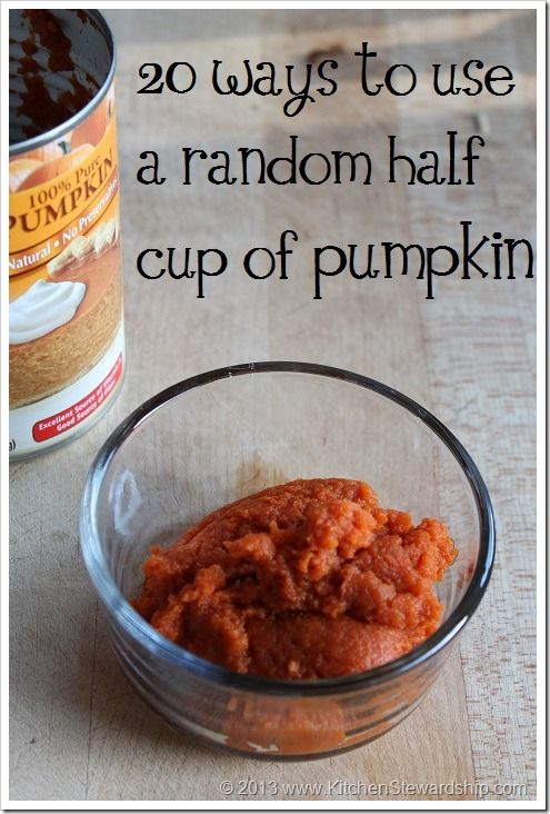 20 ways to use up leftover pumpkin (not all recipes, some simple toss it in stuff so you don't have to work hard to avoid waste) :: via Kitchen Stewardship