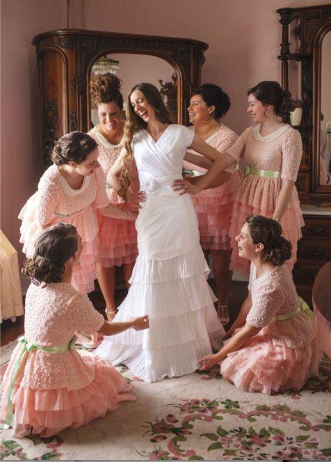 Blush Bridesmaid Dress - Modesty - #Bride #gettingready | follow #professionalimage ~ Apostolic Fashion #Bridesmaids by Dainty Jewels.