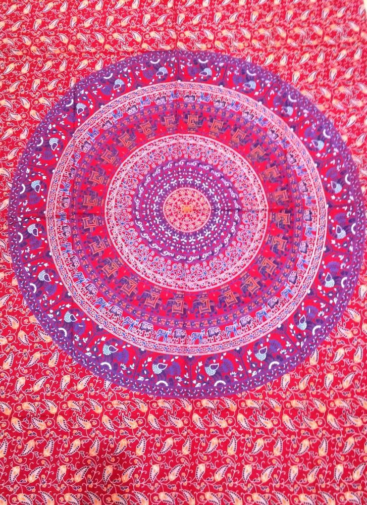 Indian Elephant Mandala Tapestry Wall Hanging twin bed cover throw dorm decor #Unbranded #ArtDecoStyle