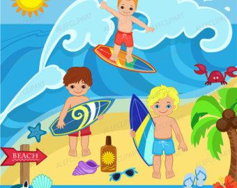 Surfer Boys Clipart Clip Art and Digital by pixelpaperprints