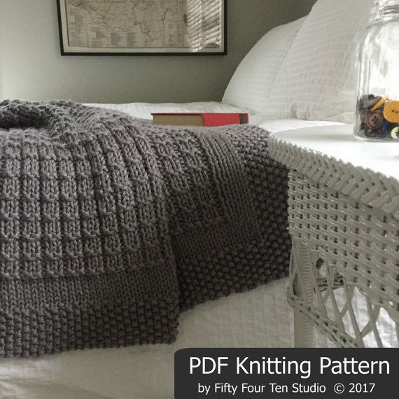 The Over the Rooftops Blanket KNITTING PATTERN is easy to knit with super bulky weight yarn and big needles. This is one of my best selling knitting patterns! *********** Pattern includes directions for FIVE sizes: Approximate sizes after blocking... = XL: 57 wide x 60 long =
