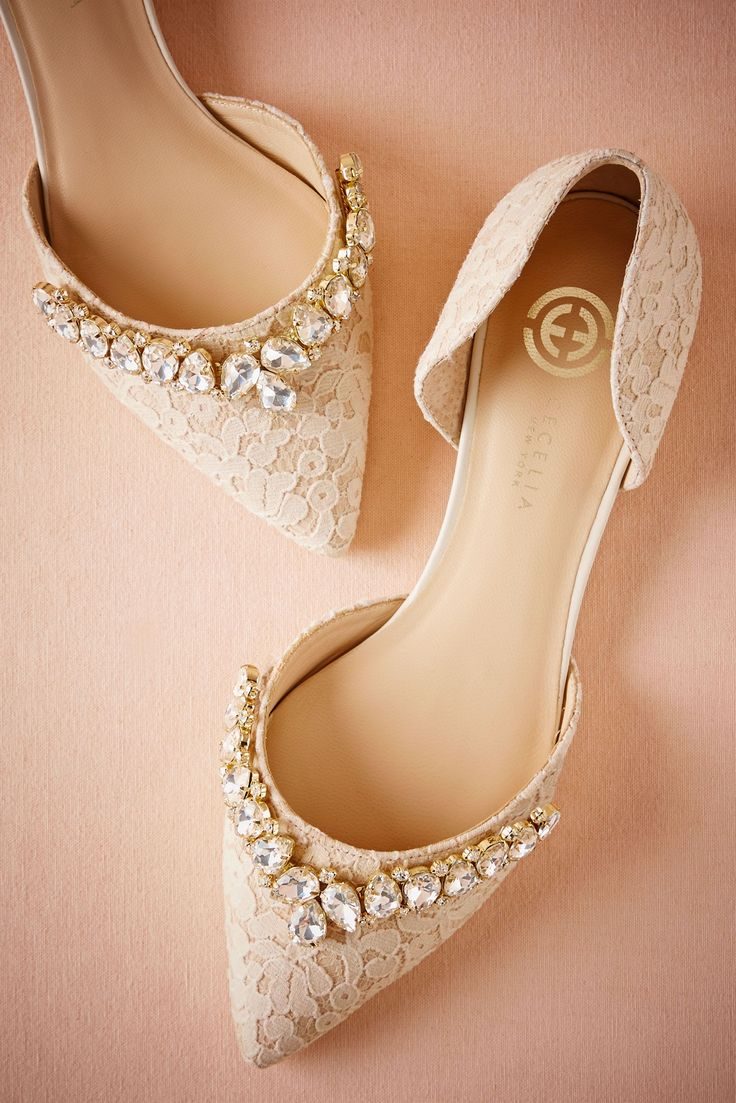 For a touch of glamour, opt for these pointed toe, bejewelled lace flats.