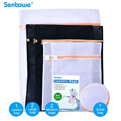 Senbowe Set of 6 Mesh Laundry Bags Laundry Mesh lingerie Wash Bags  2 Large  2 Medium  1 Jumbo  1 Small Washing Bag with Zipper ** Click image to review more details.