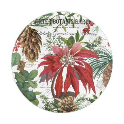 Modern vintage winter garden floral paper plate - kitchen gifts diy ideas decor special unique individual customized