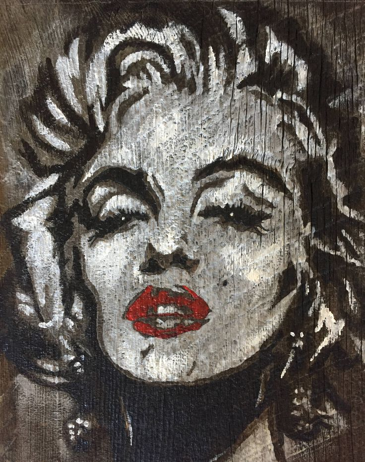 Marilyn Monroe Acrylic Painting on Rustic Wood by AshesToArtMyranda on Etsy