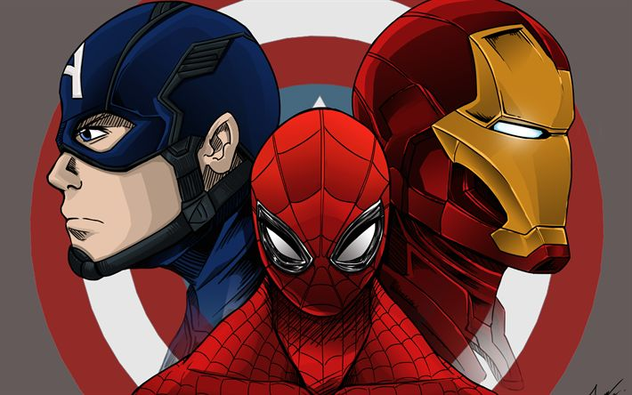 Download wallpapers IronMan, Captain America, Spiderman, 4k, superheroes