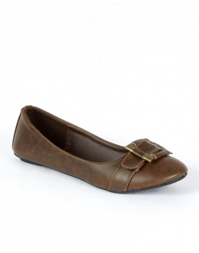 Buckle Detail Flat Brown Ballet Pumps Shoes  £7.95 #ChiaraFashion