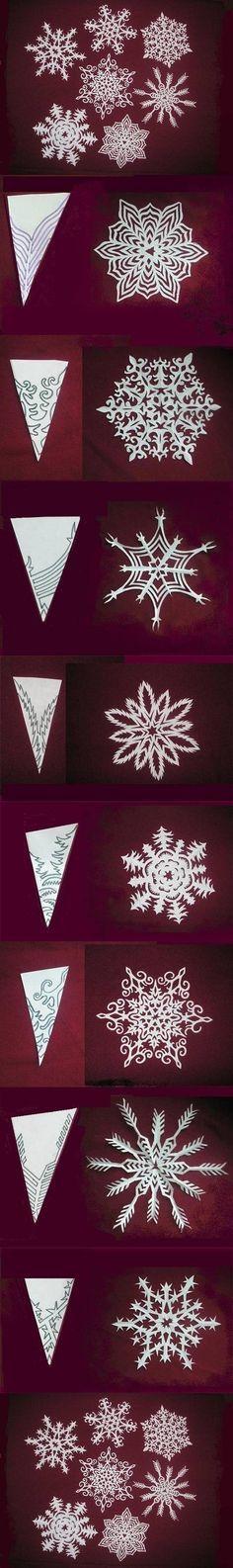 A noi i cristalli di neve piacciono troppo! DIY Snowflakes Paper Pattern Tutorial via usefuldiy.com