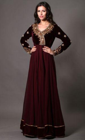 Maroon Chiffon/Velvet dress