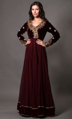 Maroon Chiffon/Velvet dress