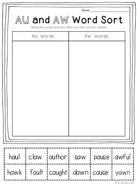 FREEBIE:  AU and AW Word Sort schoolisahappyplace.blogspot.com