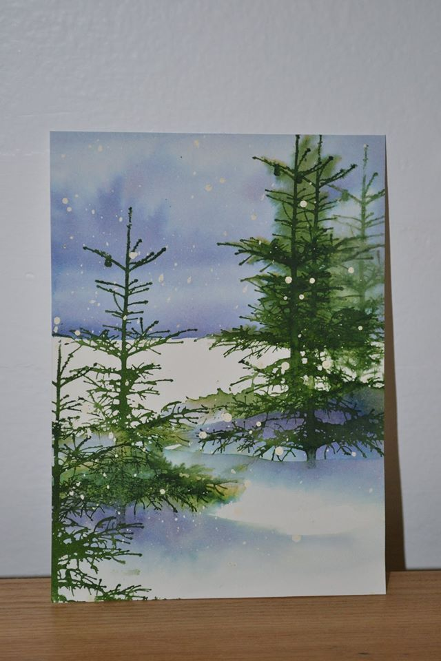 Evergreen trees and snow in watercolor