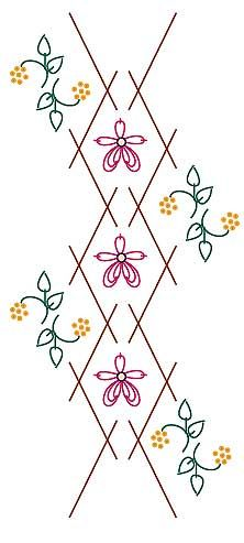 (1)Two rows of HERRINGBONE. Work the rows with generous spacing to allow a five petal flower to sit in the center.  The two lower petals are worked in TRIPLE CHAIN. Floral sprigs in STEM STITCH or WHIPPED STEM with DETACHED CHAIN leaves and FRENCH KNOTS or beads for the flowers. by Sharon Boggon