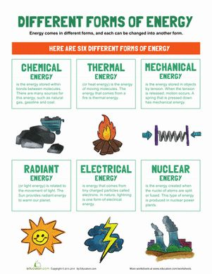 Third Grade Physical Science Worksheets: Types of Energy