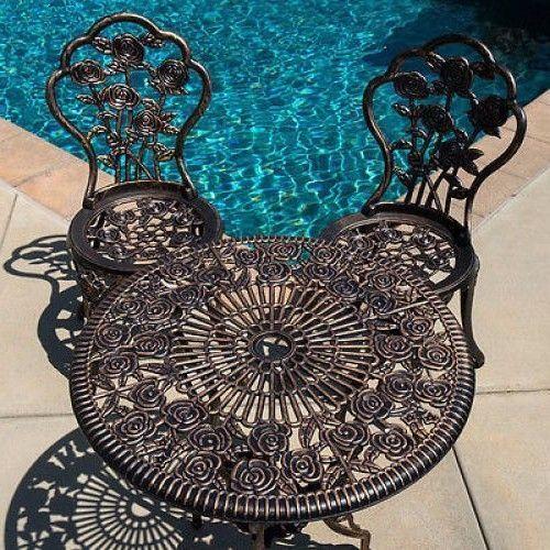 Cast Aluminum Bistro Set Outdoor Patio Furniture 3 Pc Antique Bronze Pool Decor  #CastAluminumBistroSet