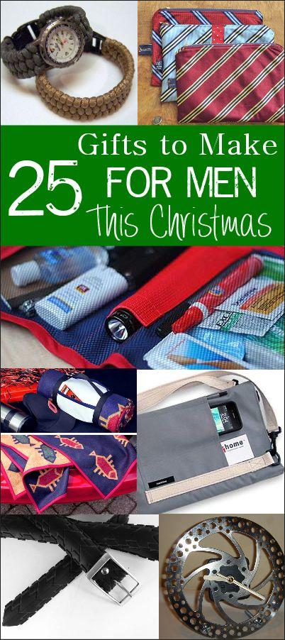 25 Gifts to Make for Men this Christmas - Lego clock, bicycle brake clock, tool organizers, necktie pattern