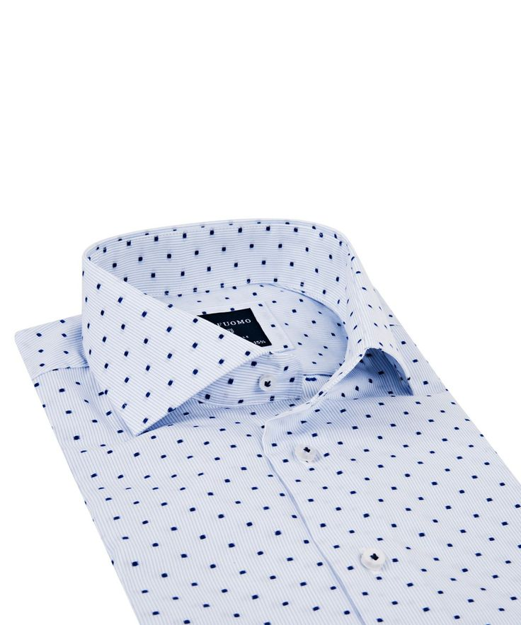 Blauw fil-coupé katoenen shirt - Profuomo.com