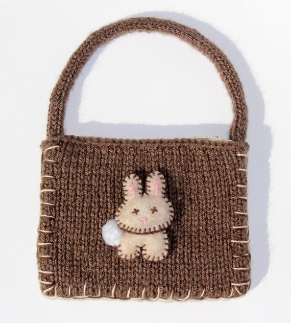 Bunny Coin Purse Rabbit Knitted Purse Little Miss by KnitPeddler