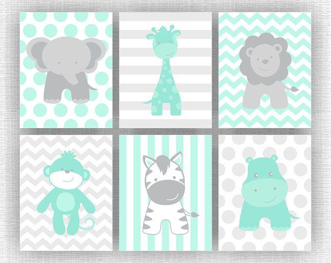 Menta y guardería de animales de la selva gris imprimible, elefante jirafa hipopótamo León mono cebra, selva animales Set de 6, 8 x 10, descargar instantánea