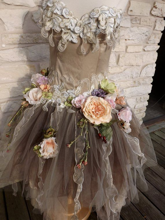 CUSTOM Handmade Wedding Dress Mini Plus Tail Beige Roses Tulle | Etsy