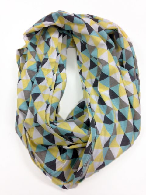 If you want a nursing cover that does not make you sacrifice convenience or style, buy the Nursing Happens ™ Infinity Breastfeeding Scarf in the new, trendy Mod Mint Triangle pattern.