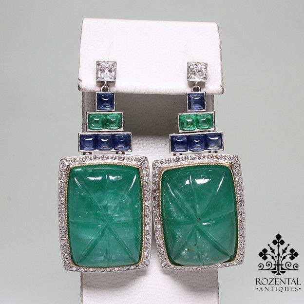 Antique Art Deco 18k Gold Diamond & 70.50 ctw Emerald & Sapphire Earrings