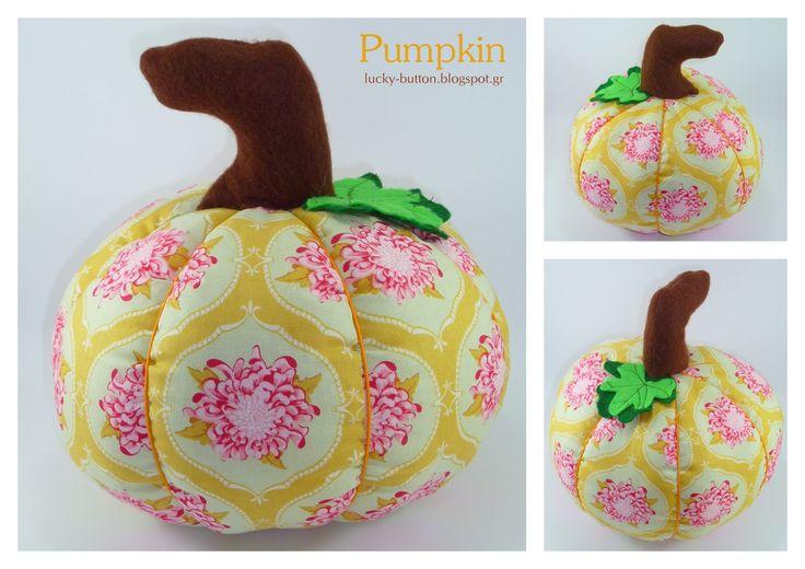 Το τυχερό κουμπί: ΥΦΑΣΜΑΤΙΝΑ ΦΡΟΥΤΑ ΚΑΙ ΛΑΧΑΝΙΚΑ Fabric Pumpkin