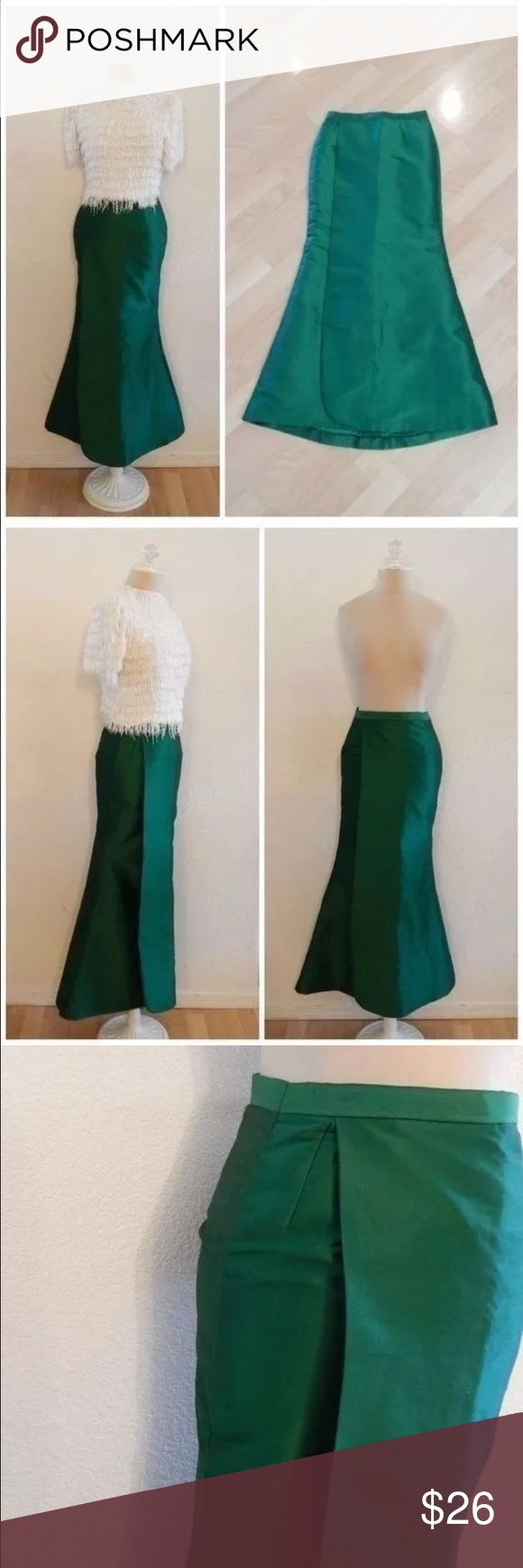 """Emerald Green Mermaid Flair Bottom Maxi Skirt Vintage High Low Hem Emerald Green Mermaid Flair Fitted Wrap Floor Length Formal Costume Skirt  No tags Rear Invisible Zipper and Eye Hook Closure Estimated Size Range XS (2), Please review actual measurements  Waist circumference: 25"""" Hip circumference: 33"""" Length: 37.5"""" Front / 39.25"""" Rear Thin circumference of """"tail"""" end: 32"""" Thickest circumference bottom of """"tail"""": 50"""" Vintage Skirts Maxi"""