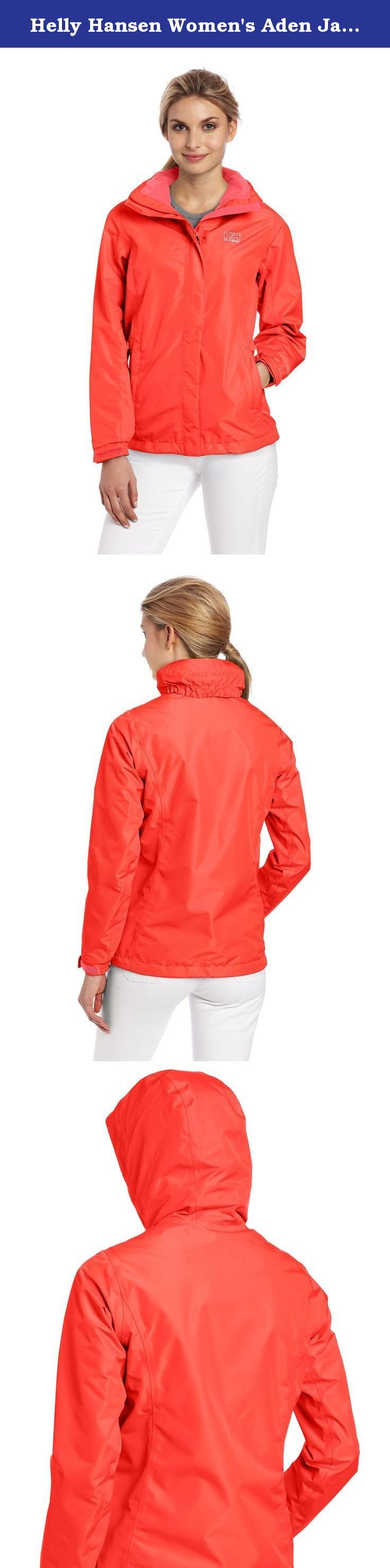 Helly Hansen Women's Aden Jacket, Summer Red, Large. A great-fitting and versatile Helly Tech rain jacket for women. Waterproof, breathable and windproof with fully sealed seams to protect you against the elements. Its quick-dry, lightweight lining adds comfort in both warm and cold weather. The great raincoat for the great outdoors.