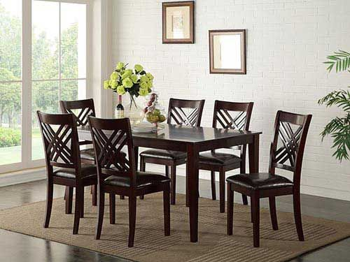 "at rent-a-center the standard ""staten"" 7-piece dining set features"