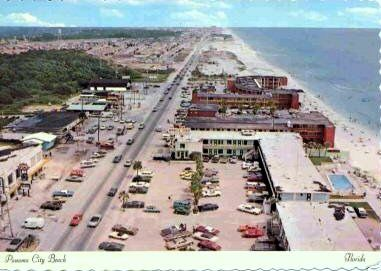 Cruising the strip on Front Beach Rd, US98, Panama City Beach, Florida. mid 1960's post card, aerial view