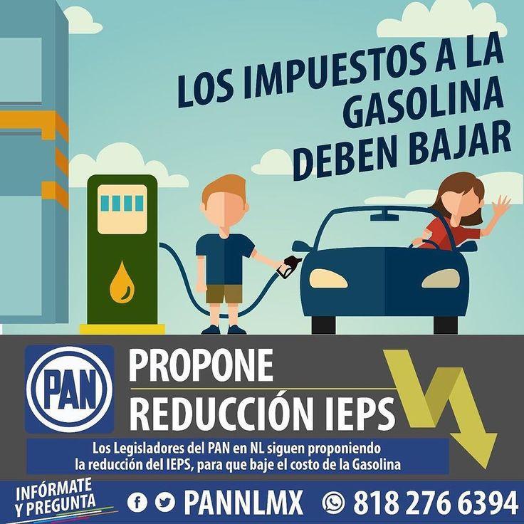 En el Partido Acción Nacional seguiremos proponiendo bajar el IEPS y así disminuya el costo de la gasolina.  #PANvsGasolinazo  Comparte únete infórmate y pregunta.  En redes sociales @PANNLMX o mándanos un whatsapp al 818 276 6394 #Gasolinazo #gasolinazo2017 #gasolinazomx #YaBasta #YaBastaPRI #PANpropone #BajaLaGasolina #NoMasImpuestos